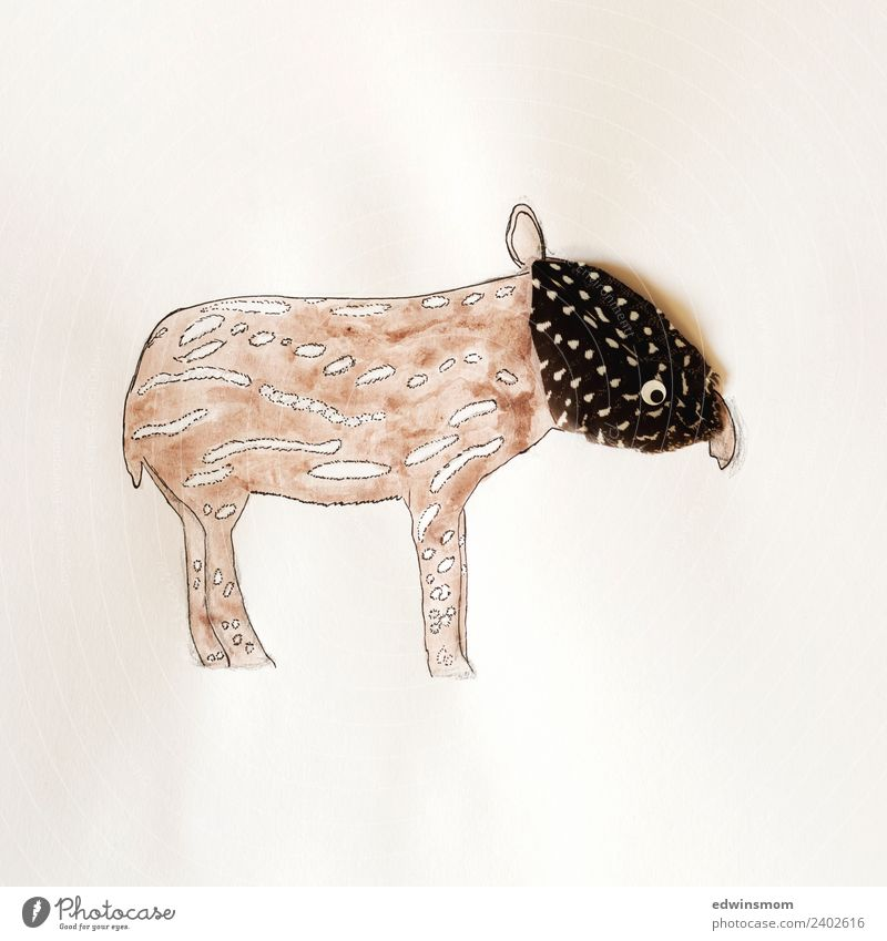 Little tapir Leisure and hobbies Handicraft Draw Animal Wild animal Tapir 1 Paper Decoration Feather headdress Looking Stand Small Funny Soft Brown Gray Idea