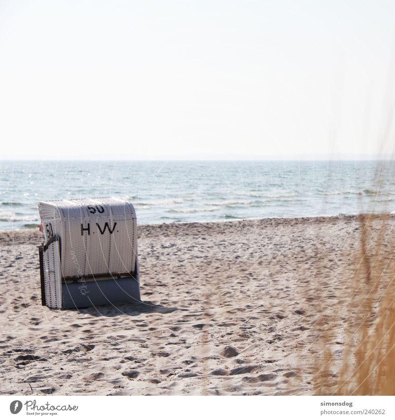 Sky Water Vacation & Travel Summer Ocean Beach Calm Far-off places Landscape Sand Horizon Beautiful weather Baltic Sea Seating Wanderlust Beach chair