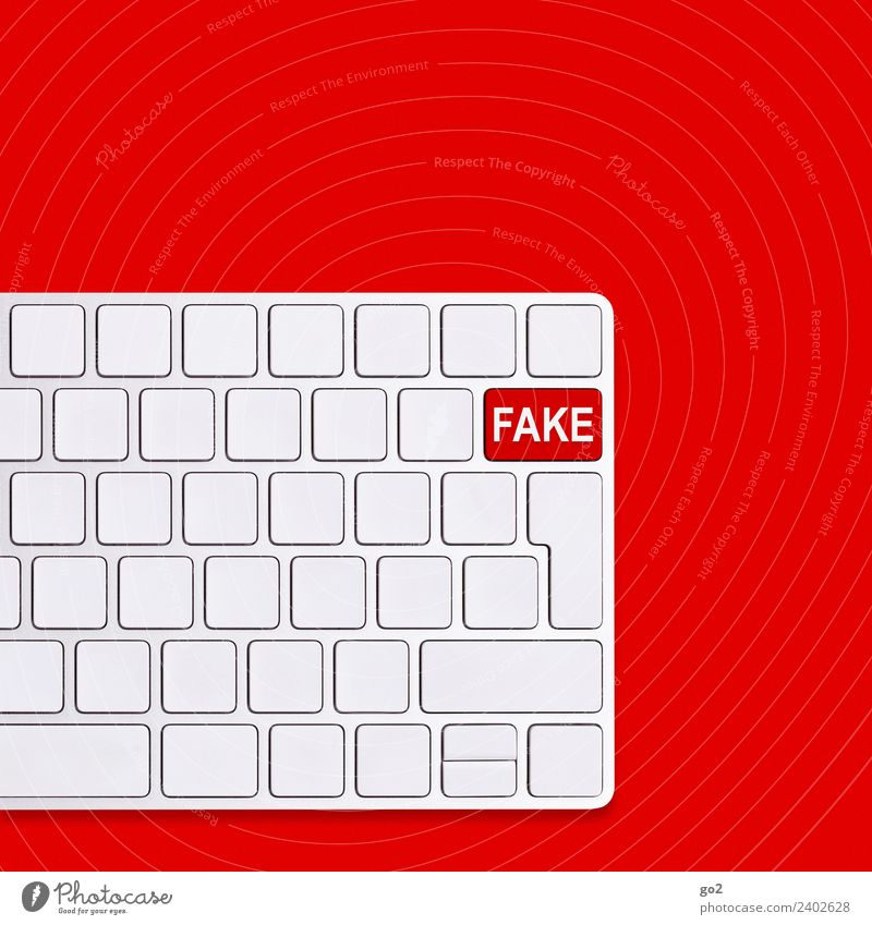 fake Computer Keyboard Hardware Technology Telecommunications Information Technology Internet Characters Communicate Threat Red White Fear of the future