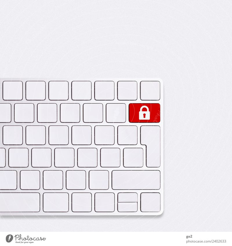 IT security Office work Workplace Computer Keyboard Hardware Technology Telecommunications Information Technology Internet Sign Lock Red White Trust Safety