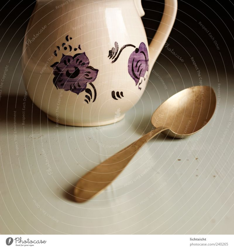 Old Style Design Table Decoration Kitsch Crockery Ancient Bowl Cutlery Partially visible Spoon Odds and ends Collector's item Water jug Wooden spoon