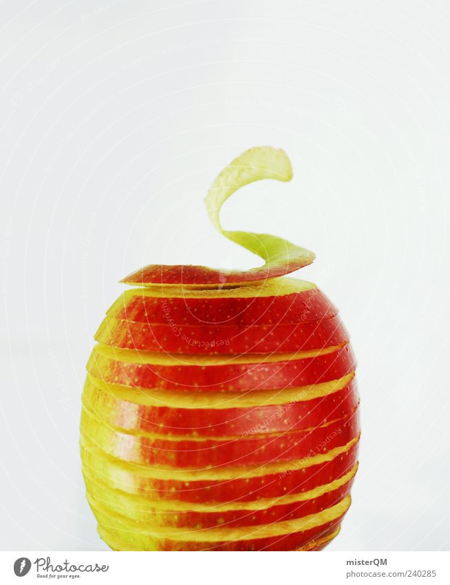 Red Nutrition Healthy Food Fruit Esthetic Apple Exceptional Creativity Idea Vitamin Organic produce Spiral Symmetry Cut