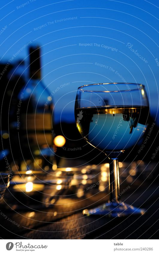 Sky Blue Summer Food Wood Style Contentment Glass Gold Glittering Illuminate Lifestyle Beverage Beautiful weather Wine Well-being