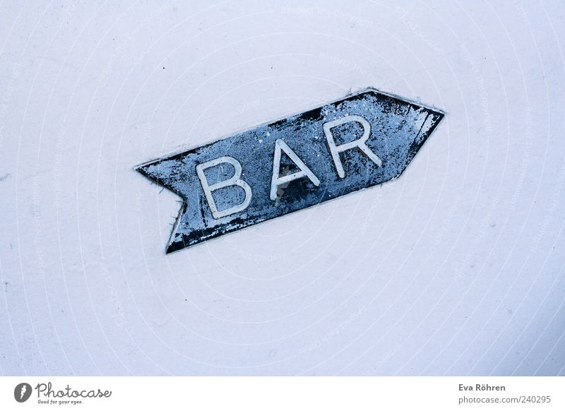 White Blue Wall (building) Bright Concrete Signs and labeling Facade Characters Bar Gastronomy Arrow Signage Upward Typography Word Indicate