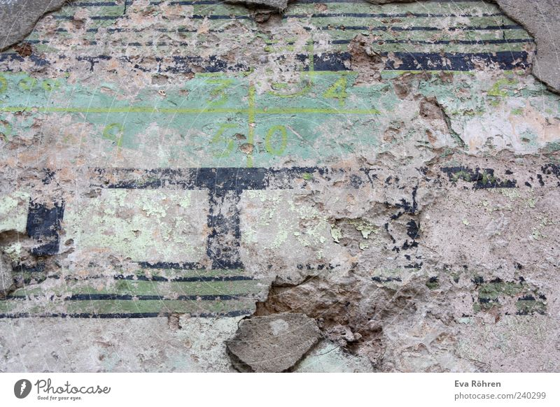 wall Manmade structures Wall (barrier) Wall (building) Facade Stone Concrete Old Blue Gray Green Stagnating Decline Destruction Derelict Abstract Unclear