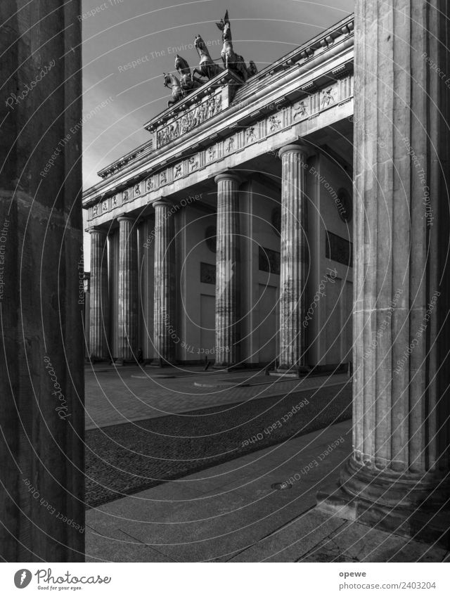 Brandenburg Gate in side perspective Vacation & Travel Tourism Trip Sightseeing City trip Sky Town Capital city Manmade structures Architecture