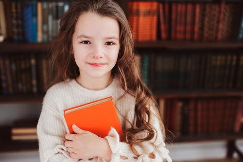 happy smart schoolgirl reading books Child Small School Infancy Smiling Creativity Book Reading Concentrate Home Story Conceptual design Smart Library