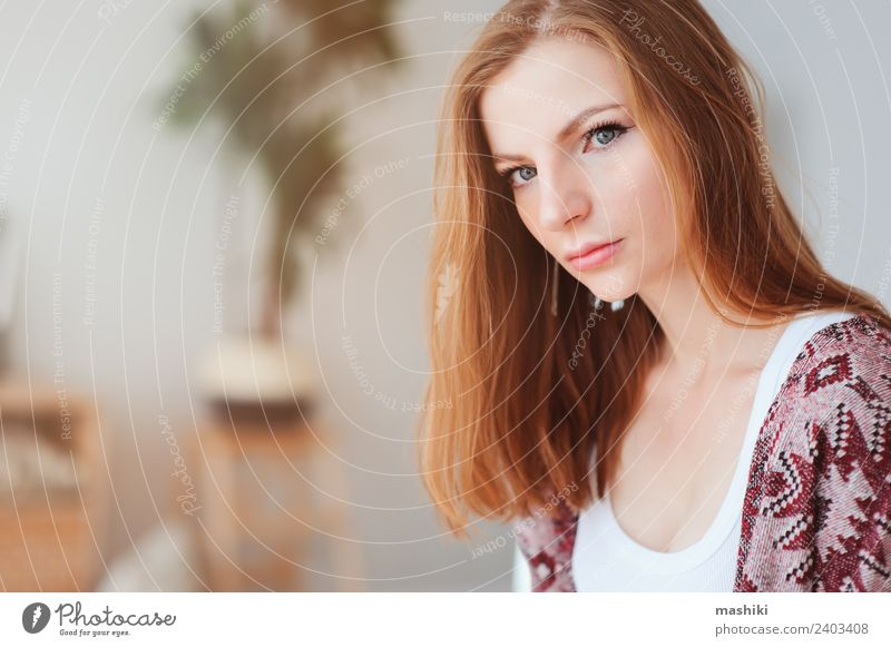 indoor portrait of beautiful young woman Woman Relaxation Loneliness Adults Lifestyle Natural Fashion Dream Beauty Photography Hip & trendy Home Considerate