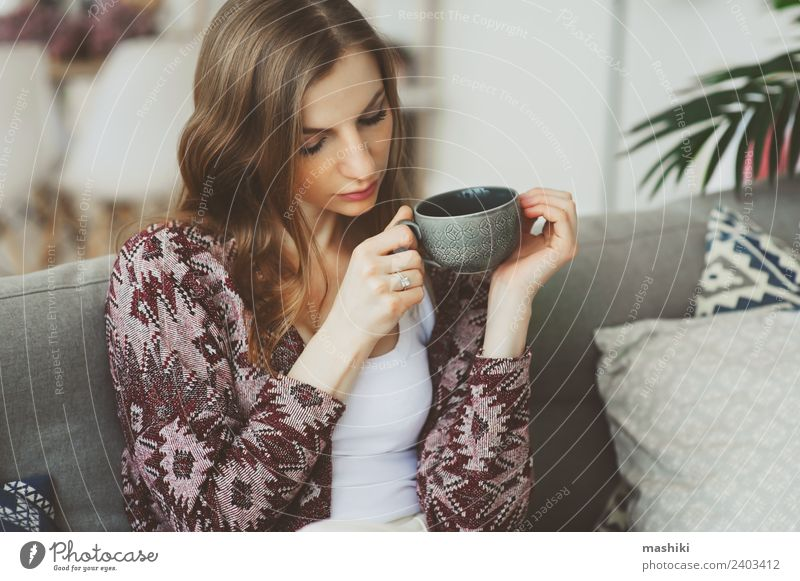 close up portrait of young thoughtful woman Breakfast Coffee Tea Lifestyle Illness Harmonious Relaxation Woman Adults Dream Sadness Hot Strong Loneliness