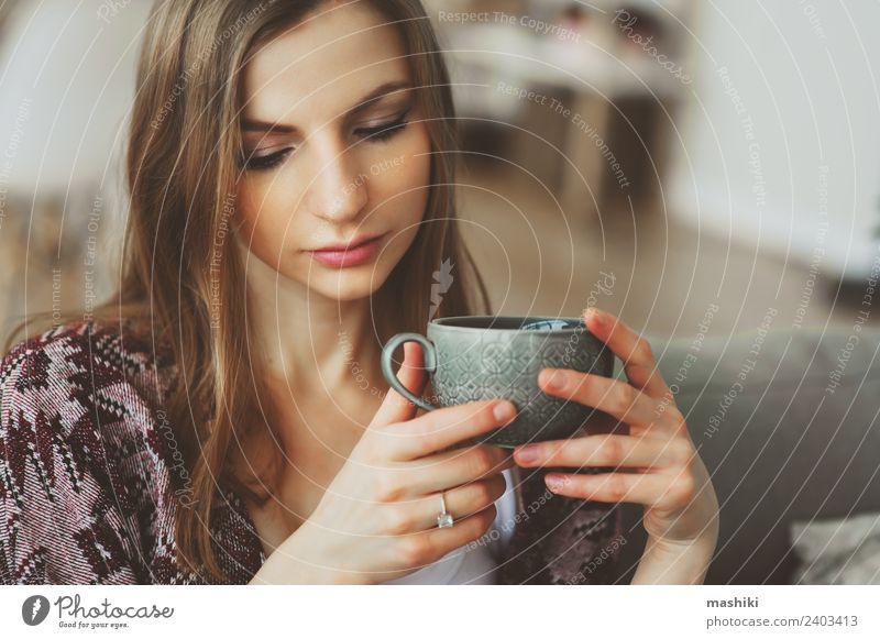 close up portrait of young thoughtful woman Woman Relaxation Loneliness Adults Lifestyle Sadness Dream Coffee Harmonious Strong Hot Illness Breakfast Balance