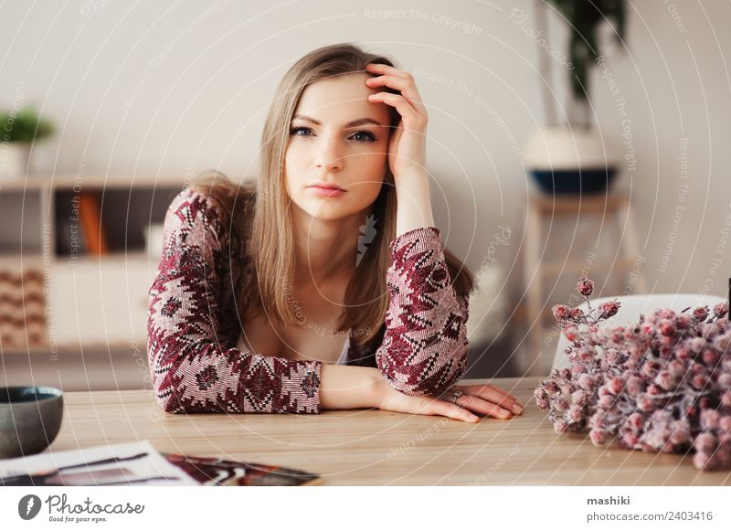 young beautiful woman relaxing at home Woman Relaxation Loneliness Adults Lifestyle Natural Flat (apartment) Dream Table Kitchen Coffee Beauty Photography Hot
