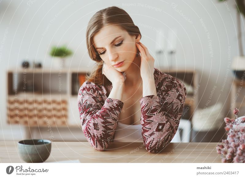 young beautiful woman relaxing at home Breakfast Coffee Tea Lifestyle Relaxation Flat (apartment) Table Kitchen Woman Adults Dream Hot Natural Loneliness