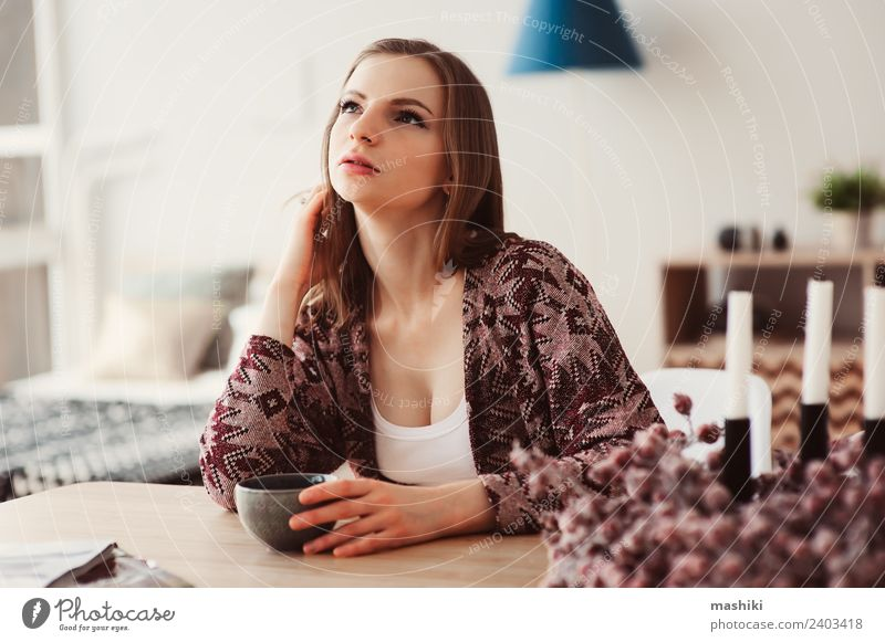 young beautiful woman relaxing at home Woman Relaxation Loneliness Adults Lifestyle Natural Flat (apartment) Dream Table Kitchen Coffee Hot Breakfast Home Tea