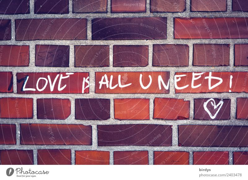 The solution : Love is all u need Wall (barrier) Wall (building) Brick wall Characters Graffiti Heart Authentic Friendliness Positive Brown Orange Red White