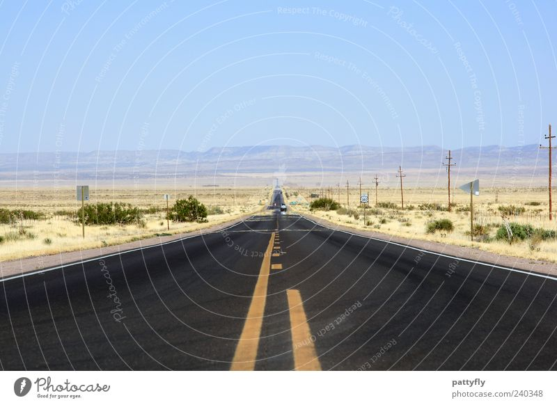Vacation & Travel Street Lanes & trails Horizon Transport Empty Future USA Simple Target Desert Asphalt Infinity Longing Traffic infrastructure Americas