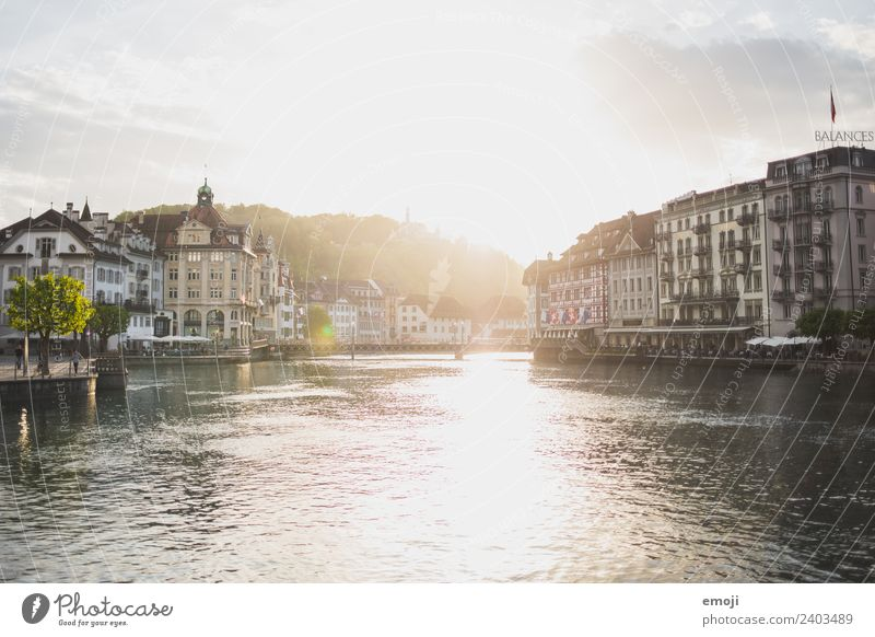 Lucerne CH Beautiful weather River reuss Town Downtown House (Residential Structure) Historic Tourism Switzerland Colour photo Exterior shot Day Evening