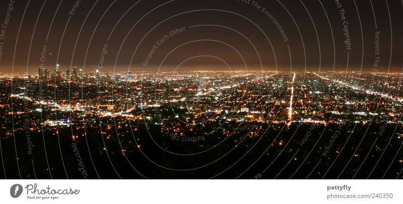 L.A. by night Los Angeles USA Americas Town Downtown Skyline Glittering Illuminate Dark Gigantic Large Infinity Moody Serene Symmetry Far-off places
