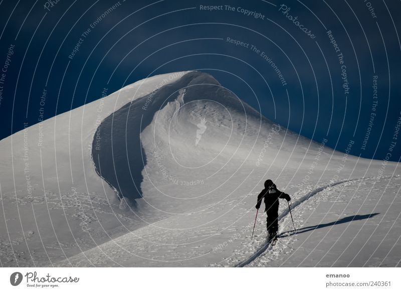 Human being Sky Man Vacation & Travel Winter Adults Cold Snow Mountain Sports Freedom Adventure Skiing Alps Peak Switzerland