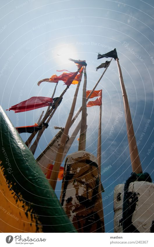 Blue Red Sun Perspective Flag Flagpole Maritime Bamboo stick Fishing boat Judder Action