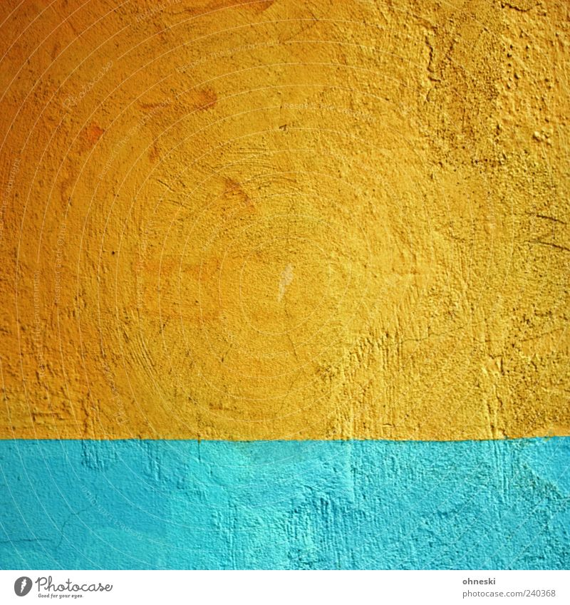 sunrise Manmade structures Building Wall (barrier) Wall (building) Facade Dye Colour Complementary colour Blue Orange Colour photo Multicoloured Exterior shot