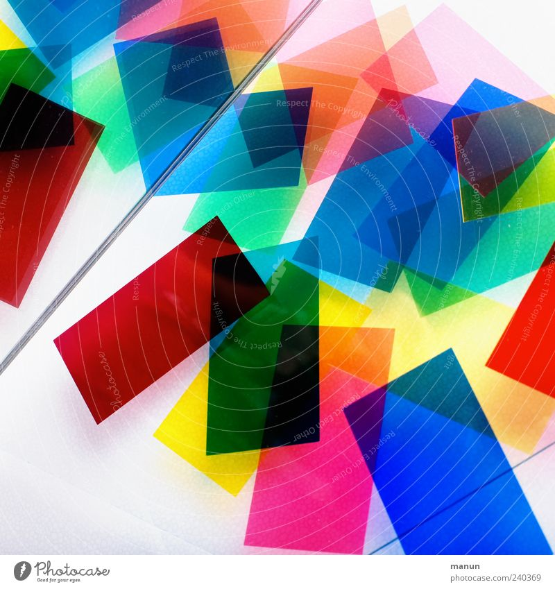 colorful II Kitsch Odds and ends Rectangle Plastic Line Stripe Lie Authentic Sharp-edged Simple Blue Yellow Green Red Chaos Design Colour Colour photo