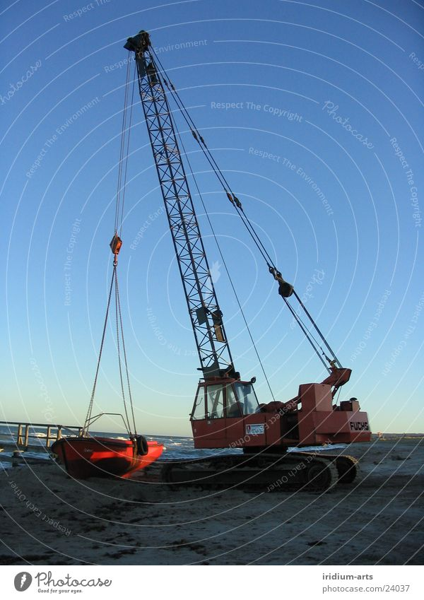 on the hook Crane Watercraft Red Progress Steel Electrical equipment Technology Sky Blue Baltic Sea Metal