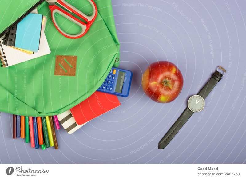 Backpack, notepad, felt-tip pens, scissors, calculator Child Blue Green School Gray Copy Space Table Paper Observe Academic studies Apple Tool Scissors Set