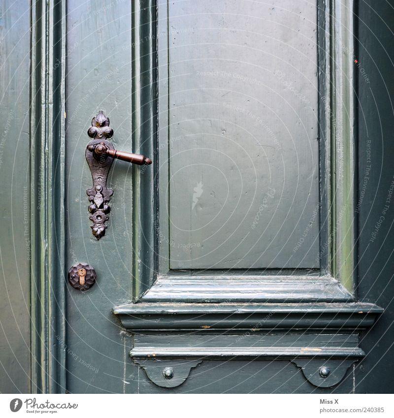 Closed today Door Old Ancient Door lock Door handle Wooden door Varnished Colour photo Exterior shot Close-up Detail Structures and shapes Deserted