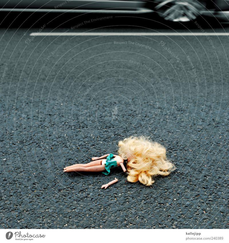 Street Car Lie Exceptional Transport Dangerous Broken Threat Symbols and metaphors Traffic infrastructure Risk Vehicle Doll Accident Light