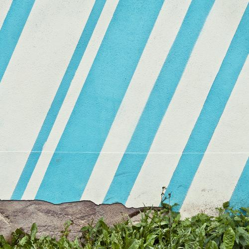 SkyLines Grass Wall (barrier) Wall (building) Stripe Broken Blue White Diagonal Stone wall Plaster Ravages of time Colour photo Multicoloured Exterior shot