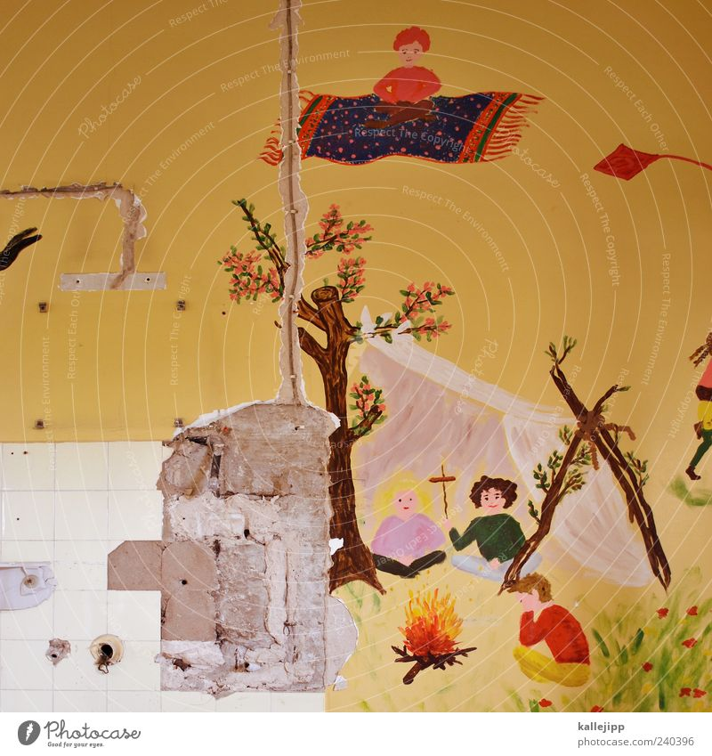 Wall (building) Flying Exceptional Broken Simple Image Tile Fairy tale Carpet Painted Floating Dismantling Fireplace Mural painting Multicoloured Shadow
