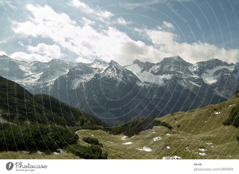 Sun, snow and mountains Sky Clouds Summer Beautiful weather Snow Alps Mountain Chalk alps Karwendelgebirge Snowcapped peak Wall of rock Blue Gray Green