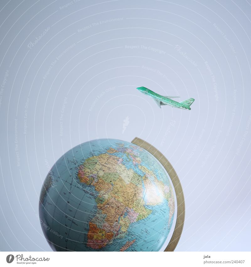 world tour Vacation & Travel Tourism Freedom Aviation Airplane Passenger plane Globe Flying Earth Colour photo Interior shot Deserted Copy Space top