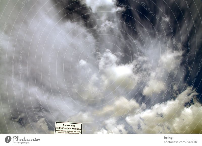 Signage Threat Border Explosion Federal armed forces Warning sign Military Clouds in the sky Theater of war Maneuver