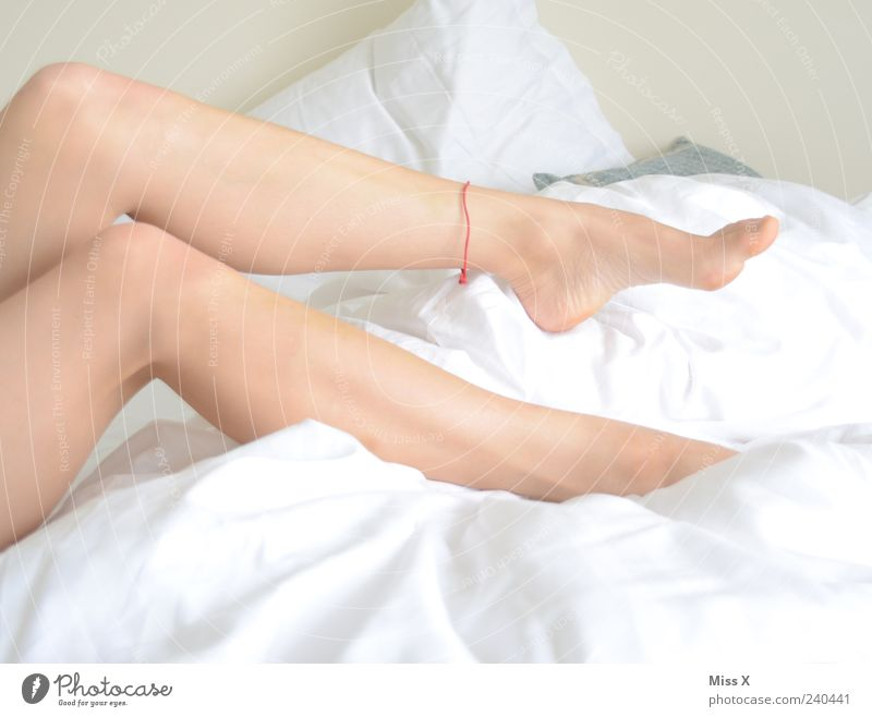 Human being Youth (Young adults) White Beautiful Calm Adults Relaxation Feminine Legs Feet Young woman Lie Skin 18 - 30 years Bed Bedclothes