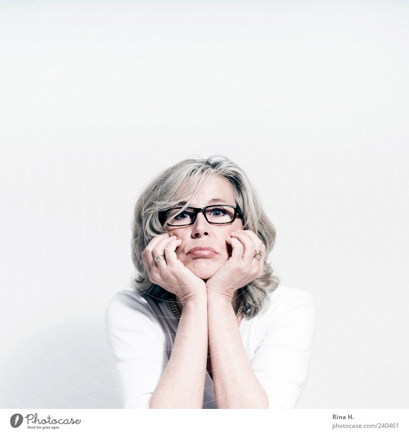 Human being White Adults Feminine Life Bright Blonde Sit Wait Authentic Eyeglasses T-shirt 45 - 60 years Anger Ring Aggravation