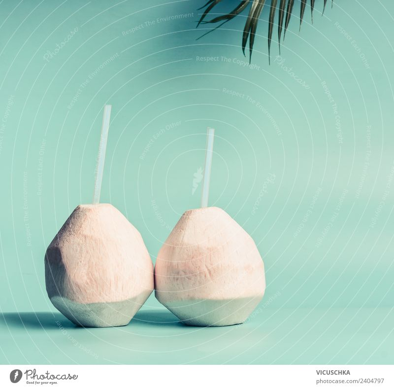 Coconut water or cocktail Beverage Cold drink Drinking water Juice Longdrink Cocktail Style Design Healthy Healthy Eating Vacation & Travel Summer Beach Nature