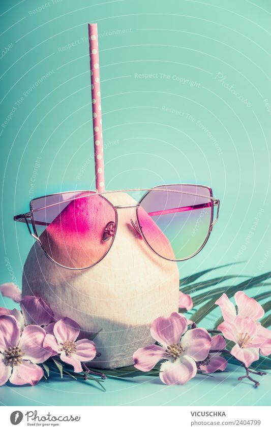 Coconut cocktail with pink sunglasses Beverage Cold drink Drinking water Lemonade Juice Style Design Joy Beautiful Relaxation Vacation & Travel Summer Beach