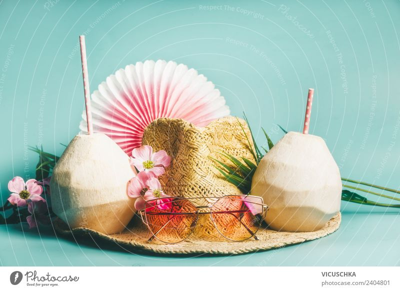 Summer vacation. Straw hat with sunglasses and coconut water Lifestyle Style Design Relaxation Leisure and hobbies Vacation & Travel Tourism Beach Fashion