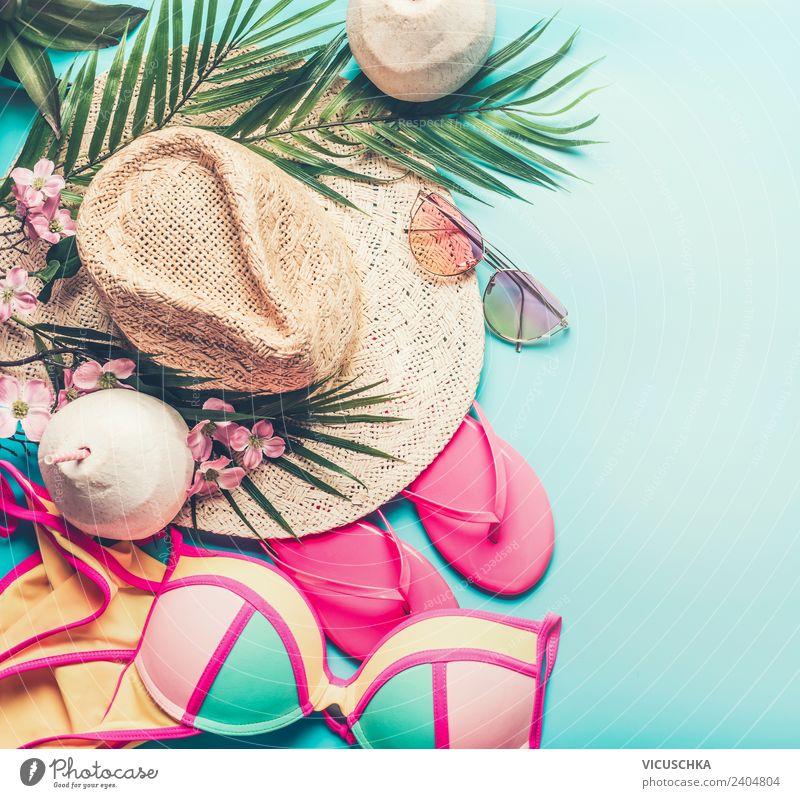 Summer beach stuff Lifestyle Style Design Joy Leisure and hobbies Vacation & Travel Summer vacation Sunbathing Beach Party Feminine Fashion Bikini Sunglasses