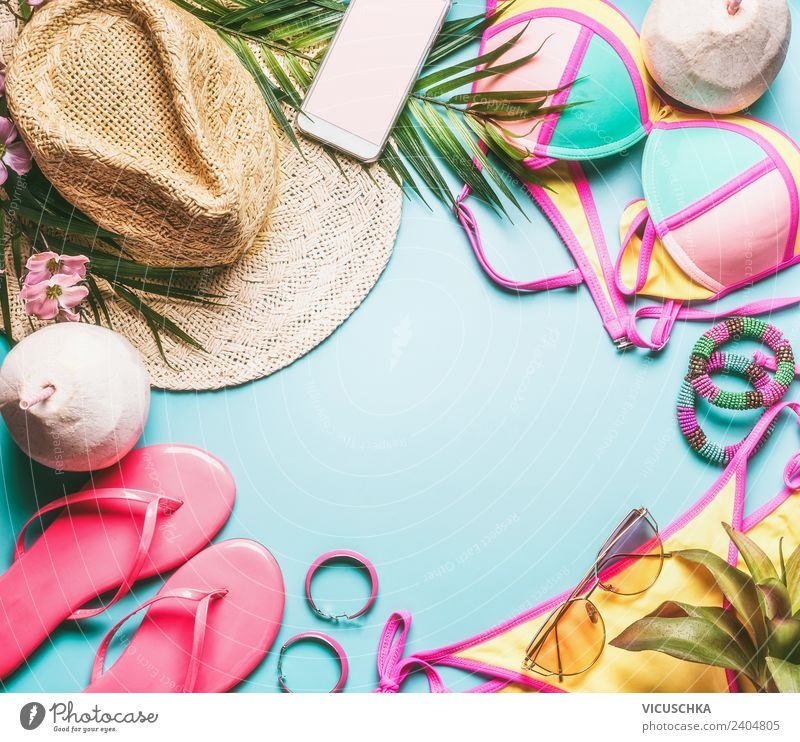 Summer holiday or beach holiday things Lifestyle Design Joy Leisure and hobbies Vacation & Travel Beach Fern Fashion Bikini Accessory Jewellery Flip-flops Hat