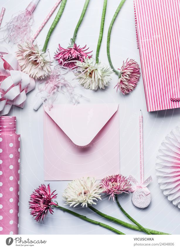Pink envelope, flowers and gift accessories Shopping Style Design Decoration Feasts & Celebrations Valentine's Day Mother's Day Wedding Birthday Bouquet Bow