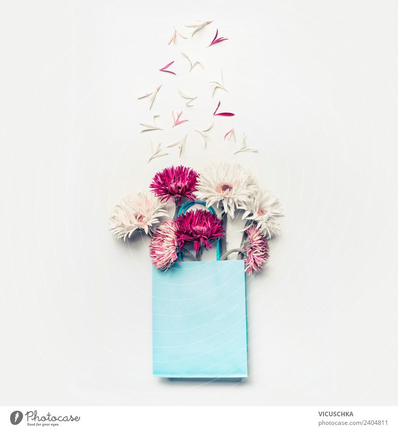 Beautiful flowers in blue gift bag Shopping Design Exotic Life Summer Valentine's Day Mother's Day Wedding Birthday Nature Flower Leaf Blossom Decoration