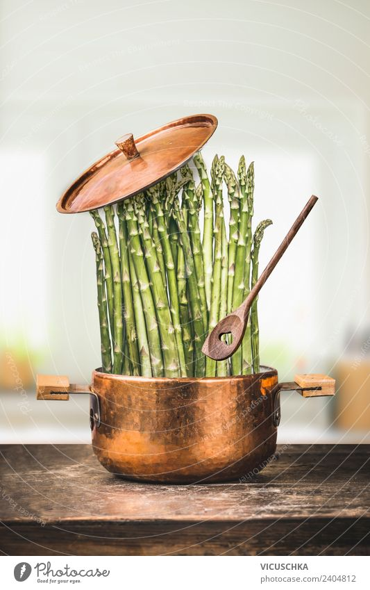Green asparagus in pot with cooking spoon Food Vegetable Nutrition Lunch Organic produce Vegetarian diet Diet Crockery Pot Spoon Style Design Healthy