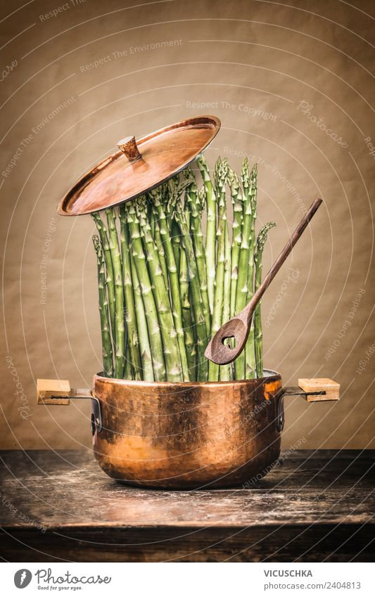 Green asparagus in a saucepan Food Vegetable Nutrition Organic produce Vegetarian diet Diet Pot Spoon Style Design Healthy Eating Kitchen Restaurant