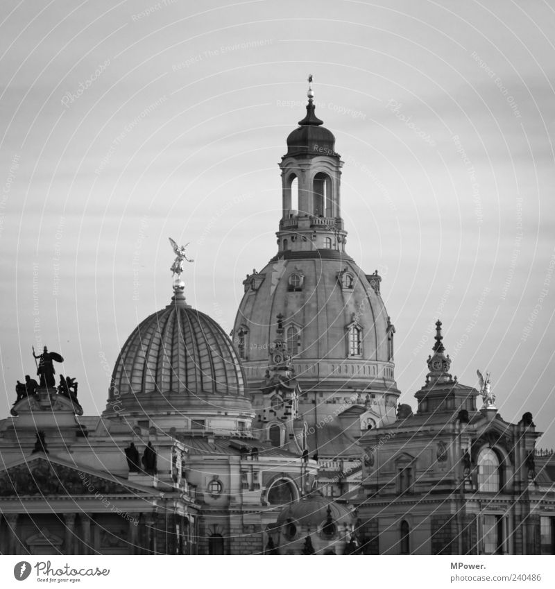 grande dame Sky Capital city Old town Landmark Point Black White Dresden Saxony Frauenkirche Domed roof House of worship Glass roof Deserted Tourist Attraction