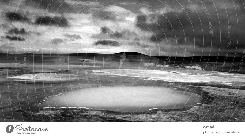 Hot springs Clouds Iceland High plain Moody Water Black & white photo