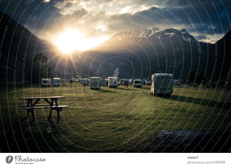 campervan cinema Clouds Meadow Snowcapped peak Fjord Mobile home Blue Gray Green Vacation & Travel Norway Camping site Bench Geiranger Colour photo
