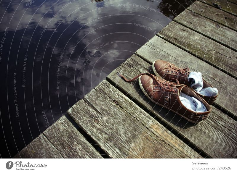 Sky Water Vacation & Travel Summer Clouds Wood Lake Brown Footwear Natural Break Beautiful weather Symbols and metaphors Footbridge Stockings Swimming lake