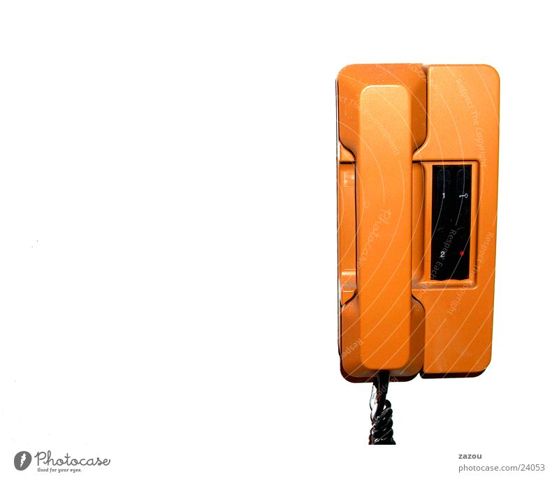 In-house telephone 70s Telephone Intercom Seventies Door opener Receiver Wall-mounted telephone Living or residing Orange